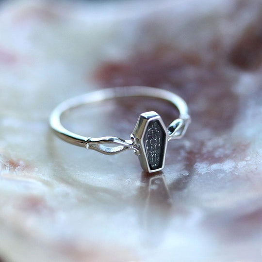MORALITY. Tiny Skeleton Coffin Silver Ring