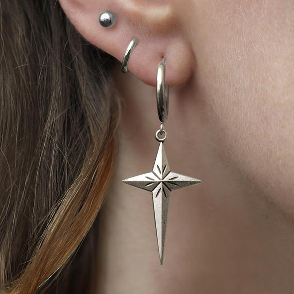 silver starburst earrings