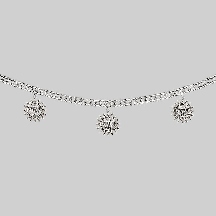 silver sun charm collar necklace