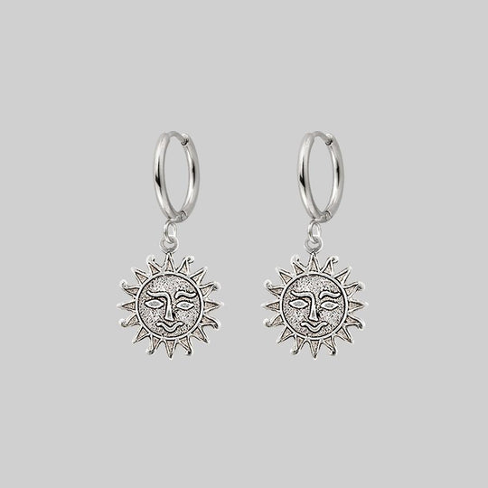 LUMI. Sun Face Hoop Earrings - Silver