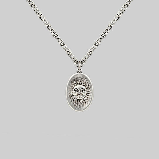 DAWN. Symbolic Sun Face Necklace - Silver