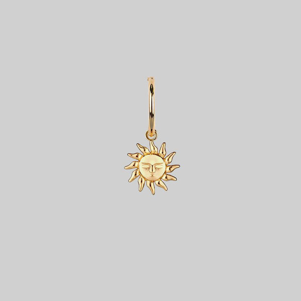 single sun charm hoop earring
