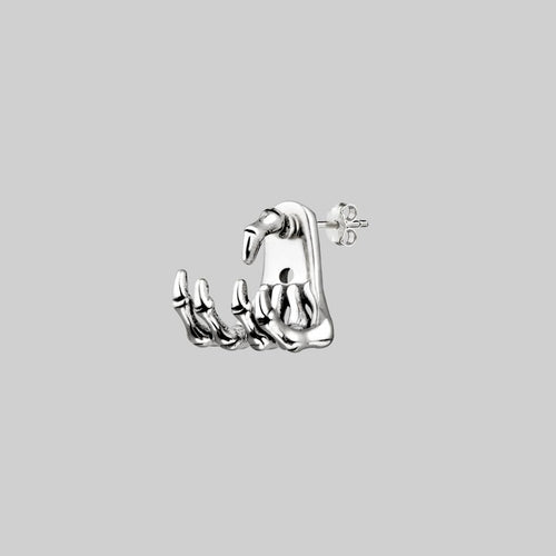 skeleton hand stud earrings sterling silver