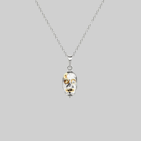 skull and snake gold necklace