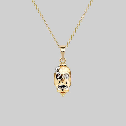 skull and serpent gold necklace