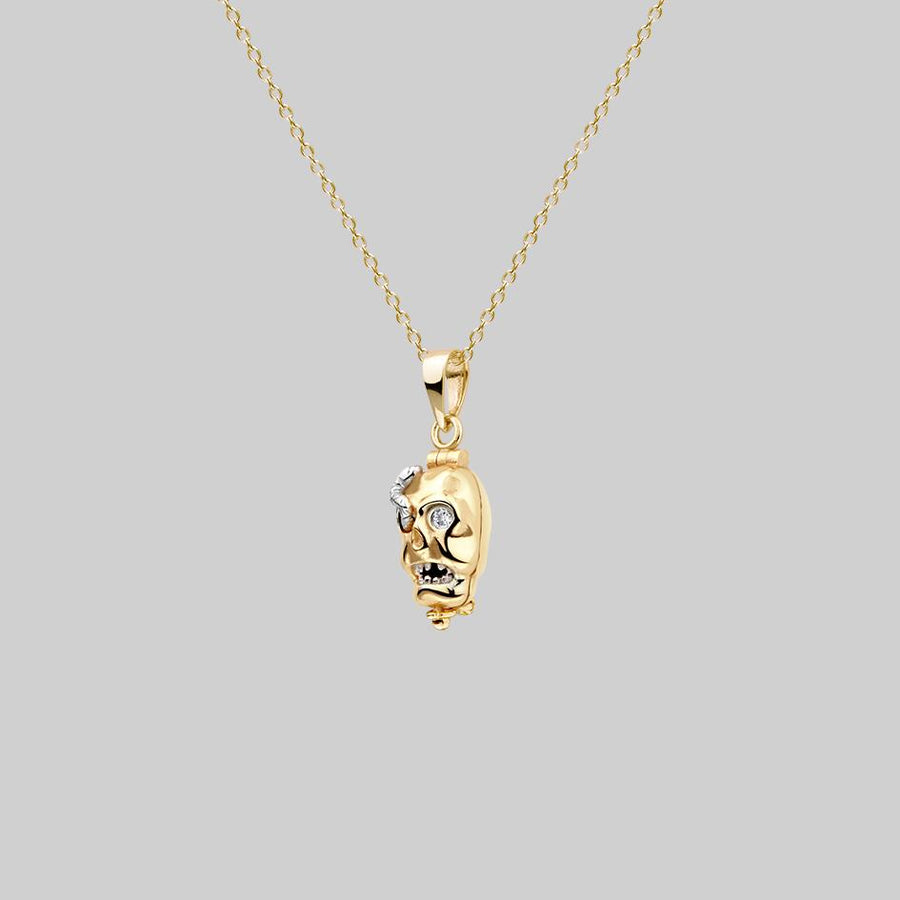dead skull necklace mixed metal gold