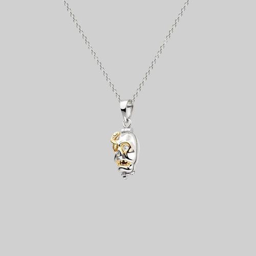 dead skull necklace mixed metal sterling silver