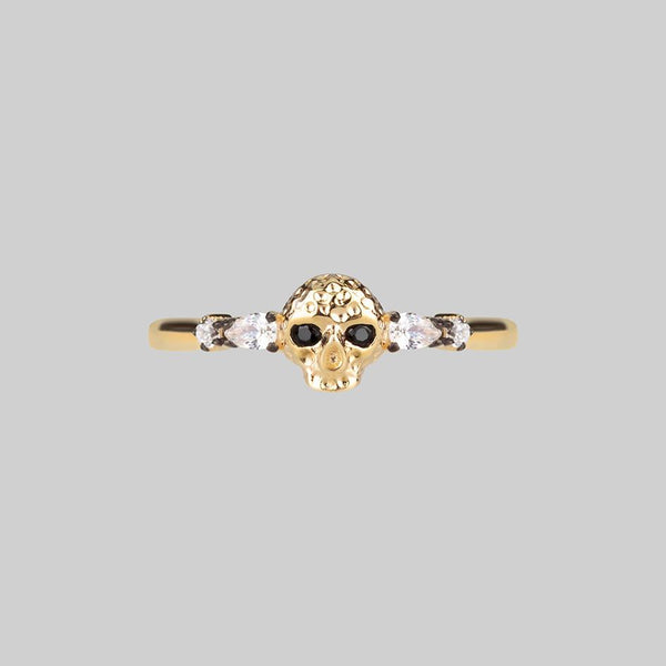 REMINISCENCE. Skull Head Onyx Gold Ring