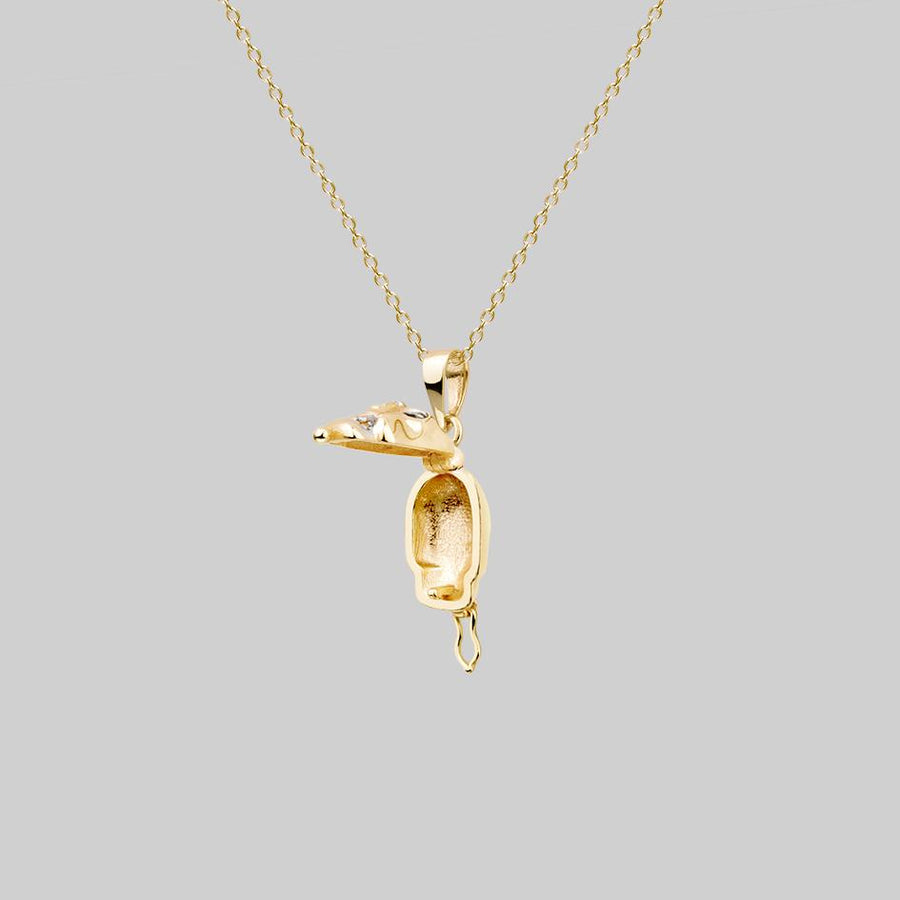 opening locket necklace skull head gold