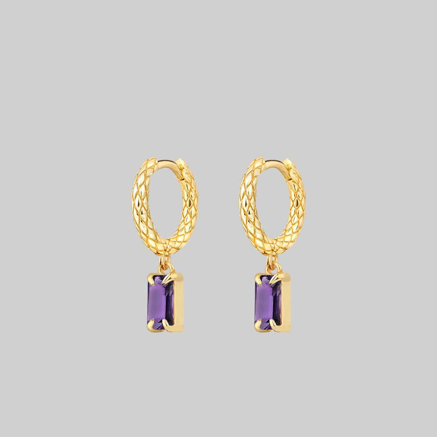 snake skin hoop earrings with amethyst