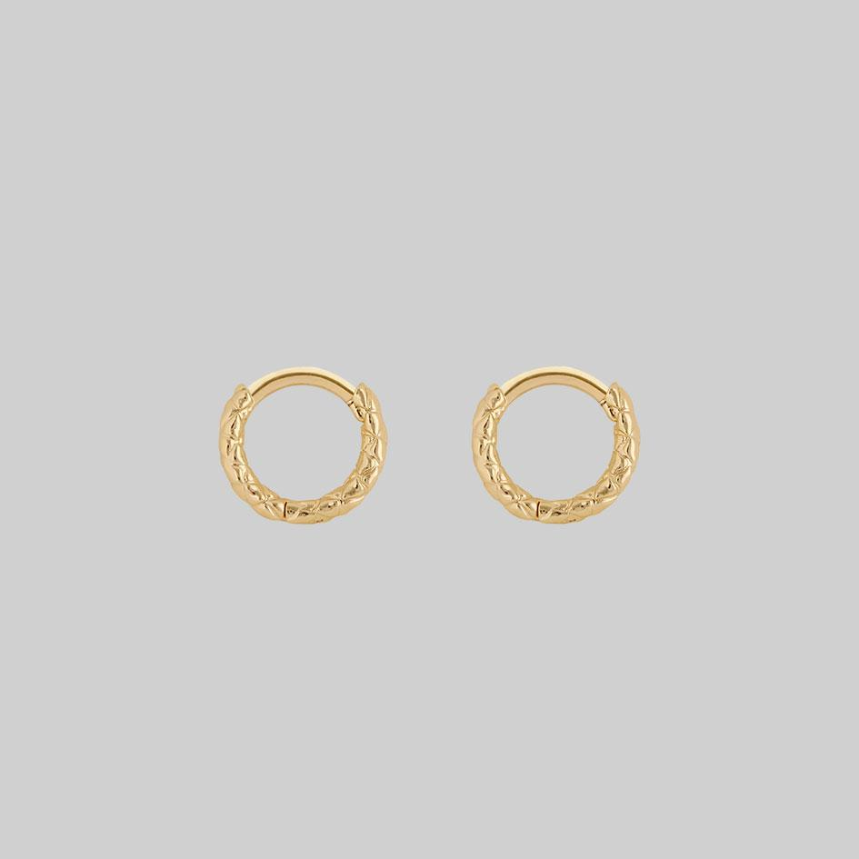 snake skin textured hoop earrings gold