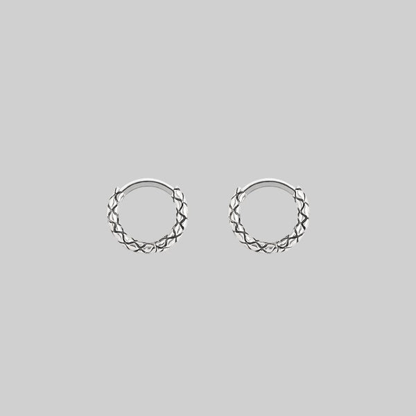 VEGA. Snake Skin Clicker Hoop Earrings - Silver
