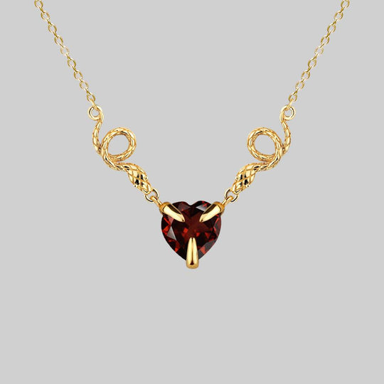 DESIRE. Snakes & Hearts Garnet Necklace - Gold