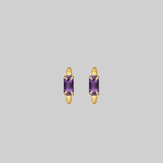 NYMPH. Amethyst Rectangle Hoop Earrings - Gold