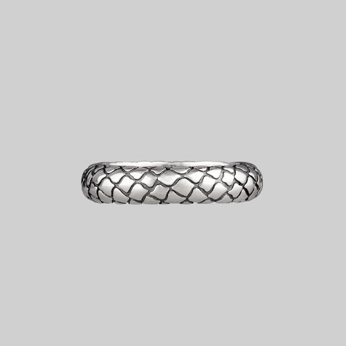 snake skin textured band ring silver