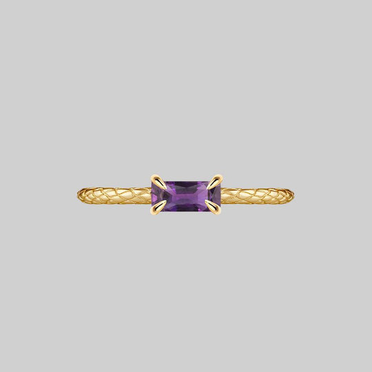 NYMPH. Amethyst Snake Skin Ring - Gold