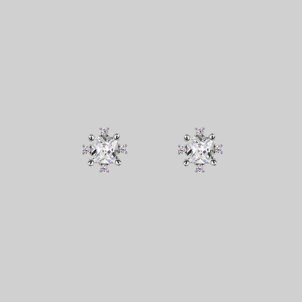 SACCHARINE. Cubic Zirconia Silver Stud Earrings