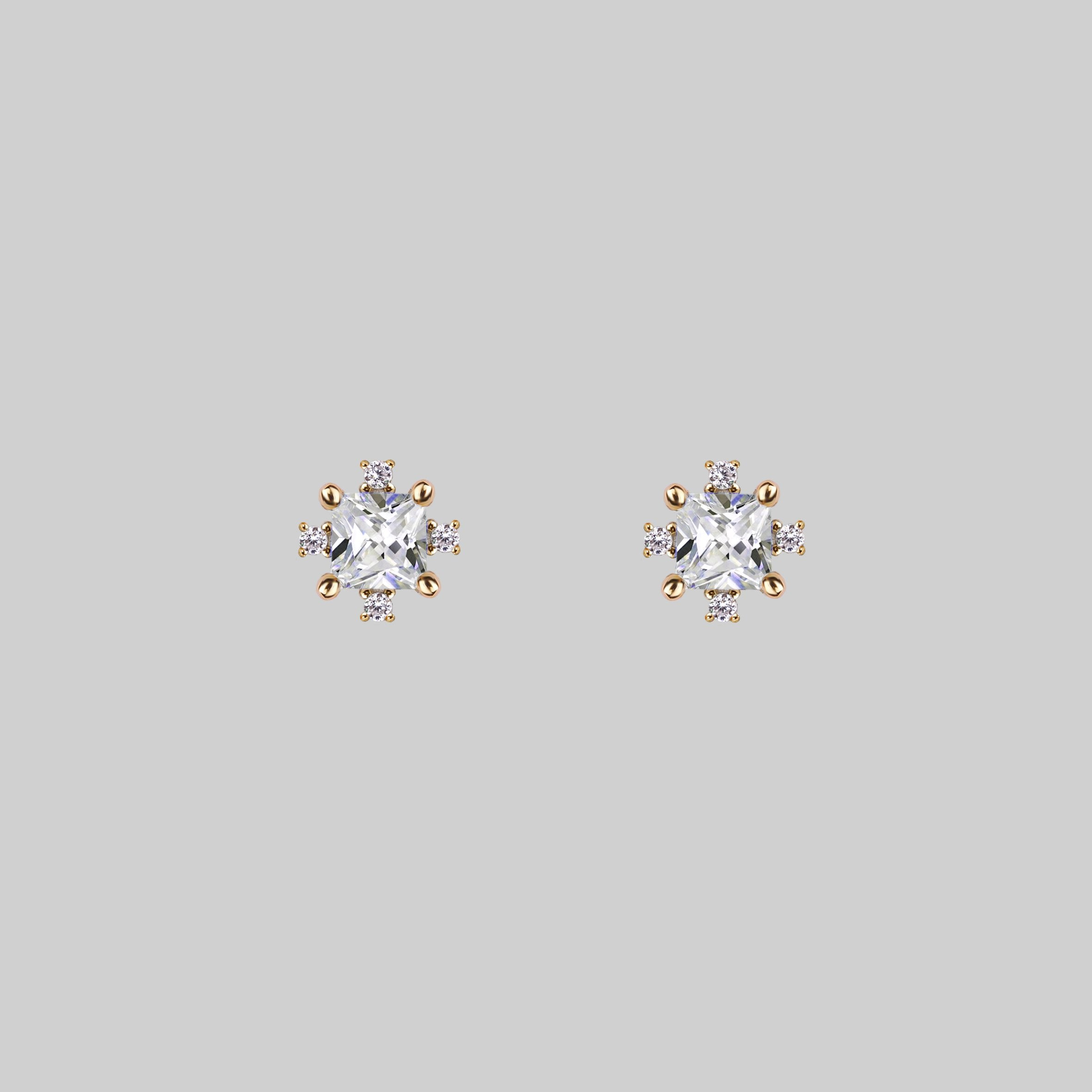 Sparkling Cubic Zirconia cluster ear studs