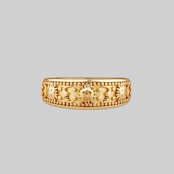 SOLAR MOON. Sun & Moon Band Ring - Gold