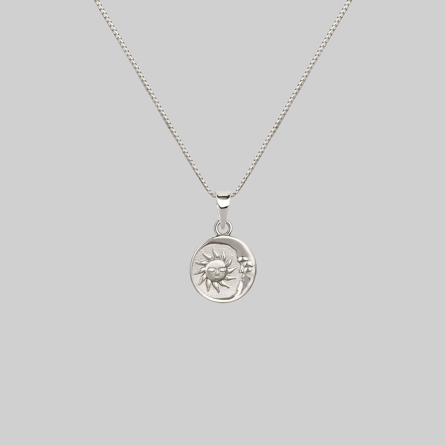 sun and moon medallion necklace silver