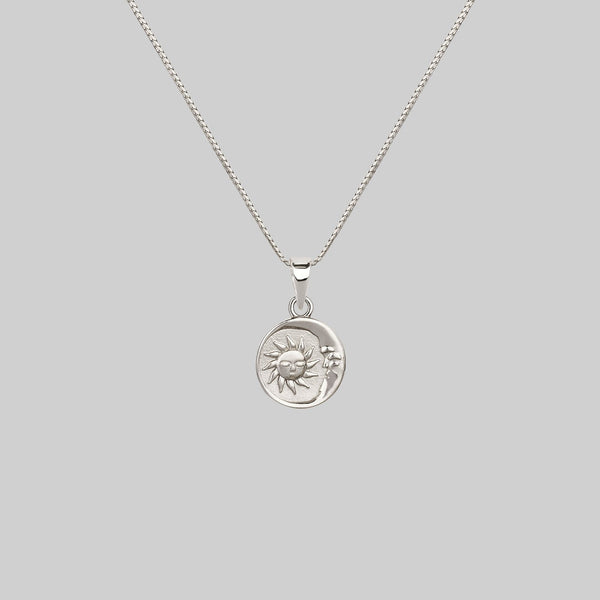 SUNDANCE. Sun & Moon Medallion Necklace - Silver