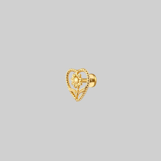 APRIL. Sunflower Heart Stud Earring - Gold