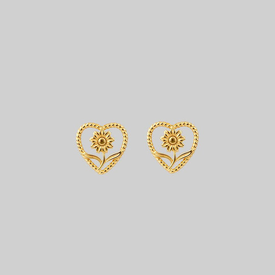 APRIL. Sunflower Heart Stud Earrings - Gold