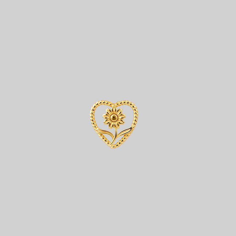 sunflower heart gold tragus stud
