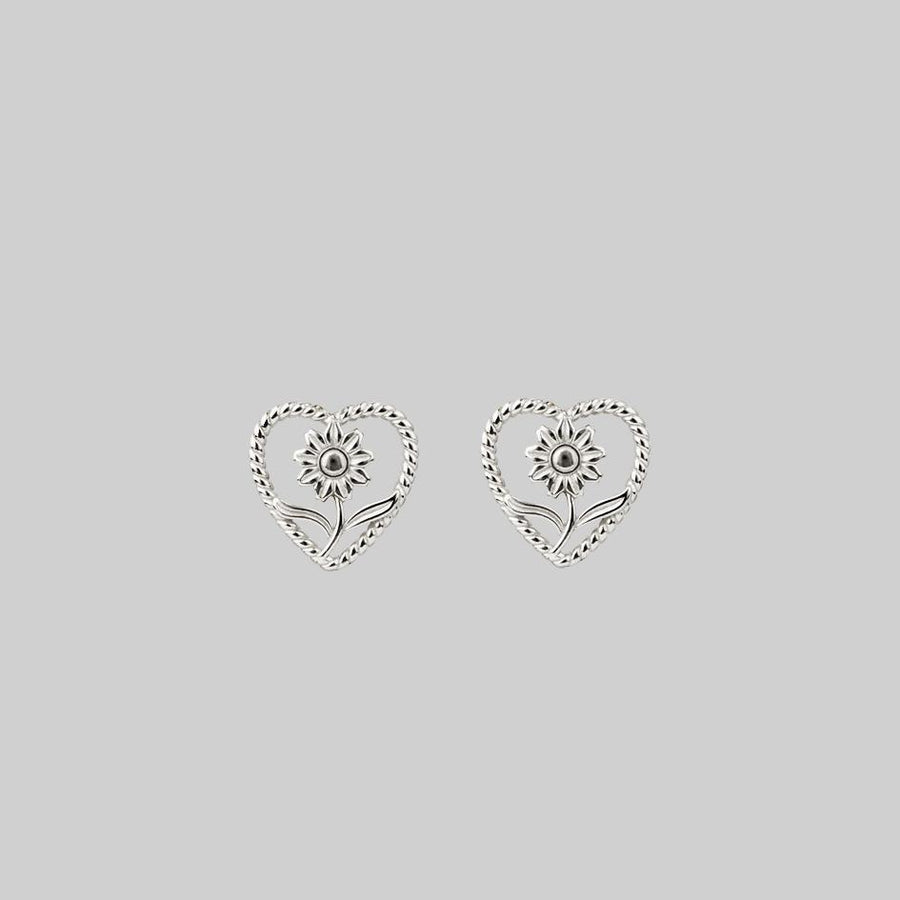 sunflower heart silver earrings
