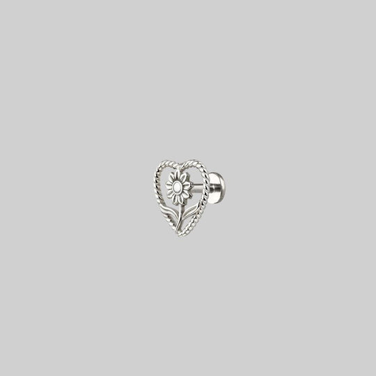 APRIL. Sunflower Heart Stud Earring - Silver