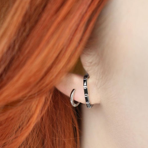 silver suspender stacking earring