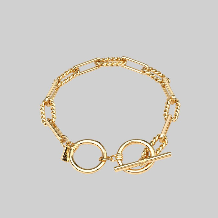 gold twisted tbar bracelet