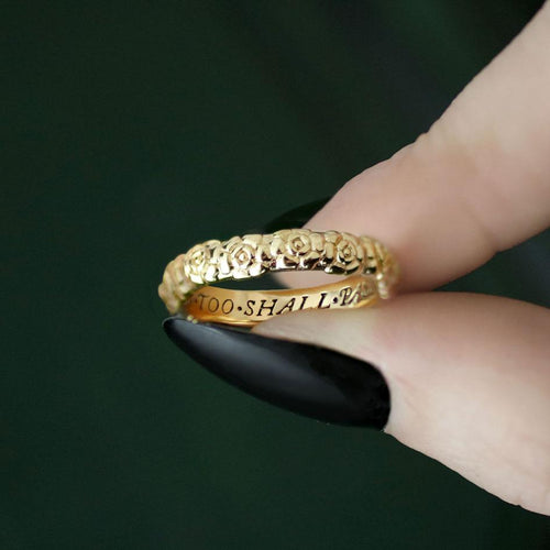 floral gold ring with words, posie ring