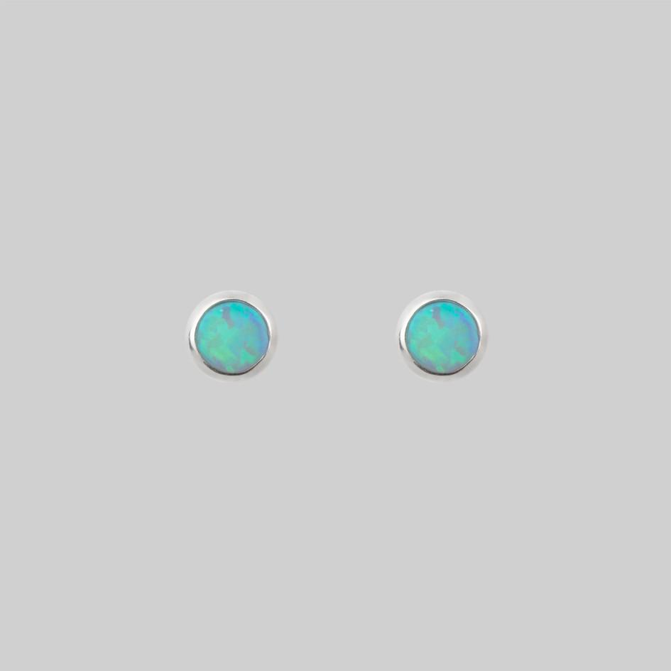Tiny blue opal stud earrings