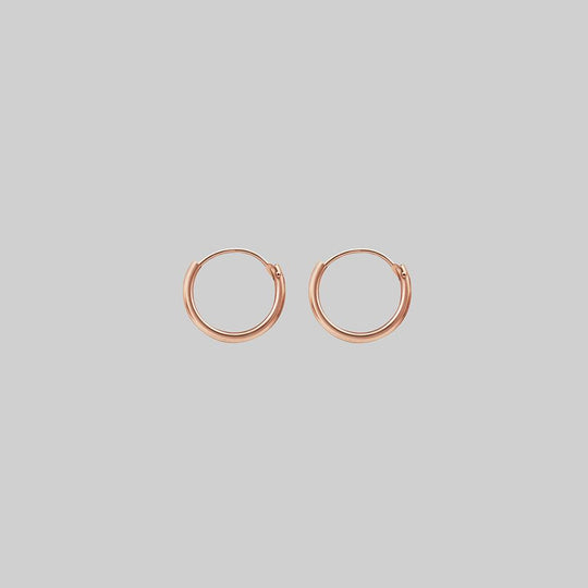Tiny Rose Gold Hoops - 10mm
