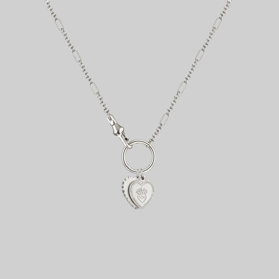 two heart necklace, sacred heart necklace silver
