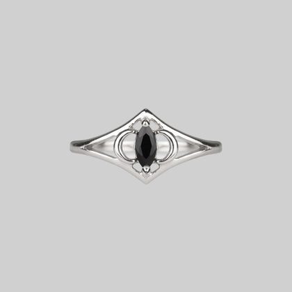 CELESTIAL. Two Moons Black Spinel Silver Ring