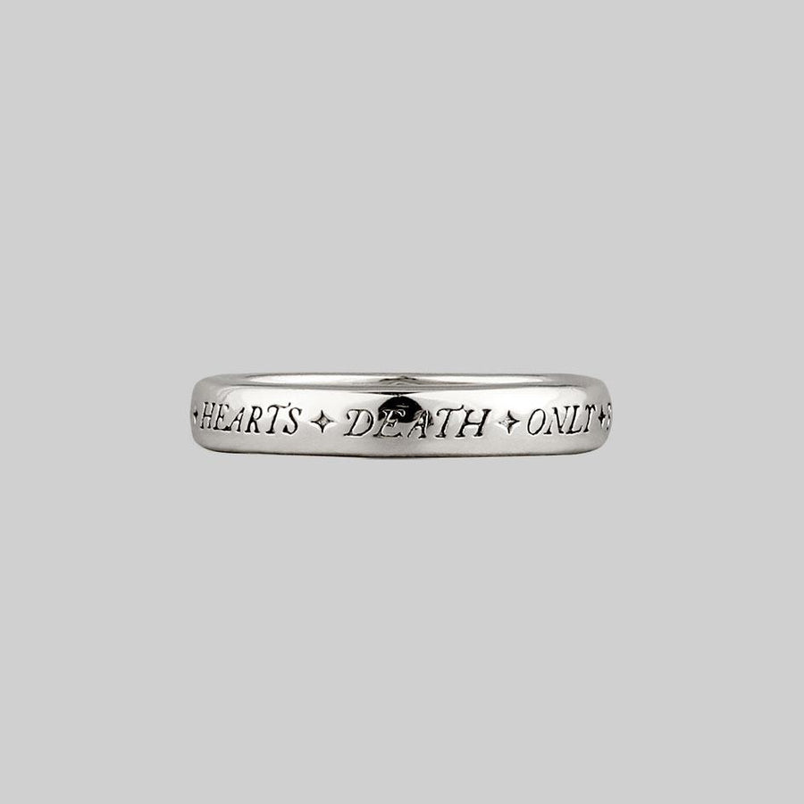 sterling silver posie ring gothic font