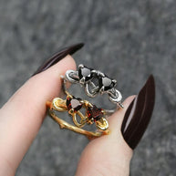 heart gemstone couples ring