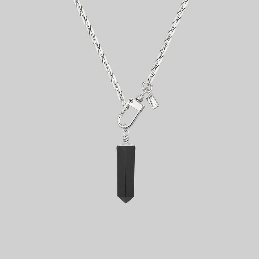 retro 90s black agate necklace