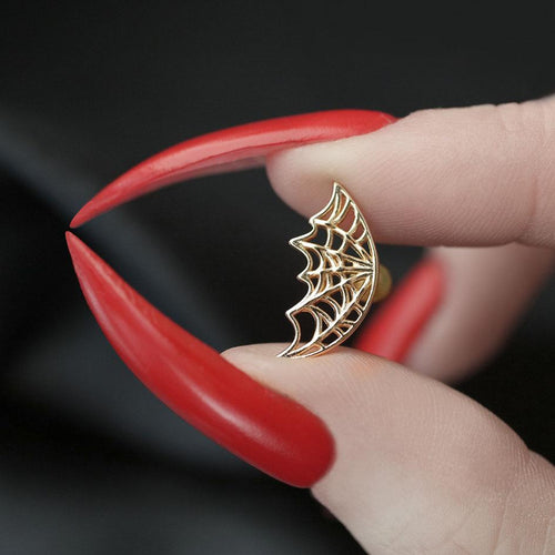 gold plated helix spider's web piercing