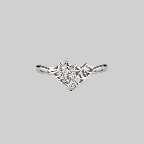 web chevron ring silver