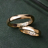 gold ring with words, poem ring