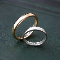 Sterling silver poem ring, band ring with words