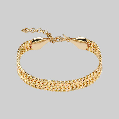 EVERMORE. Twisted Rope Link T-Bar Chain Bracelet - Gold