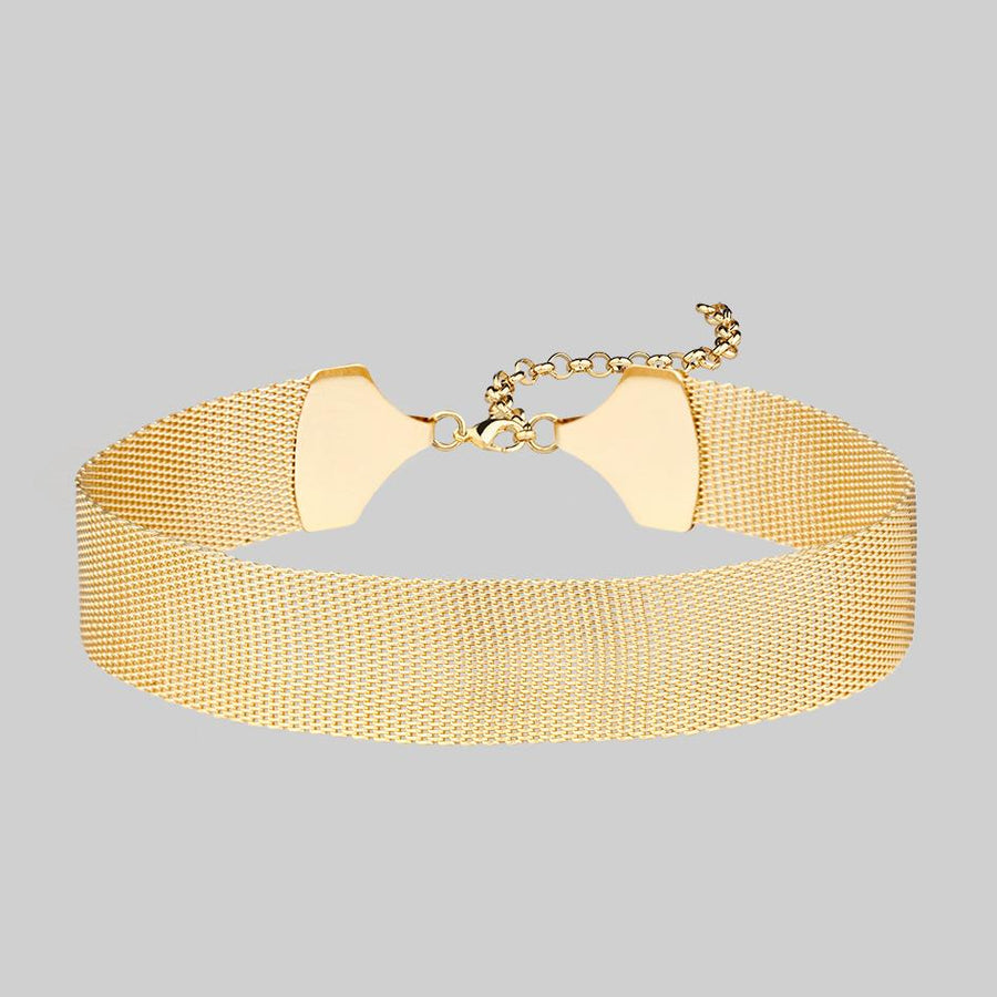 thick gold mesh choker