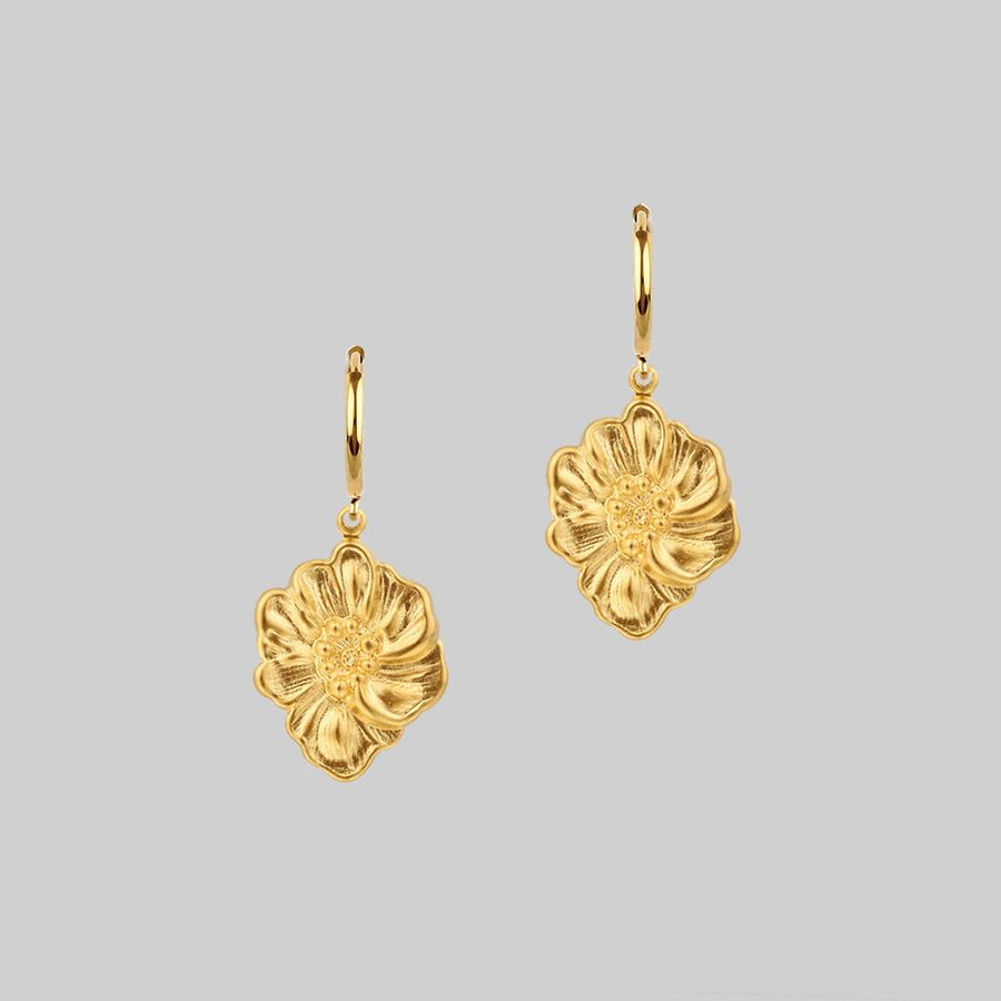 gold dark detailed flower hoop earrings
