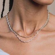 HARPER. Zig-Zag Chain Collar Necklace - Silver