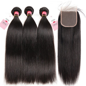 Peruvian Straight Human Hair Bundles With Closure