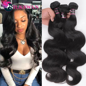 Silkswan Human Hair Weft Body Wave Bundles 24 26 28 30 Inches Brazilian Remy Hair Extentions 3/4Pcs/lot Double Weft Hair Bundles